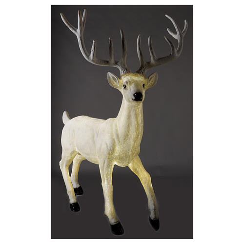 Lighted Deer Christmas decoration white for outdoors 105x85x65 cm 4