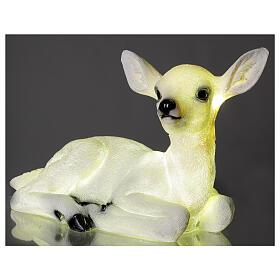 Luce natalizia cerbiatto seduto LED bianco 35x50x25 cm s2