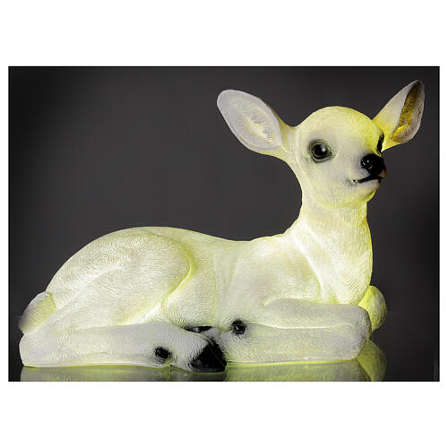 Christmas laying baby deer LED white 35x50x25 cm 1