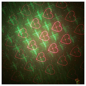 STOCK Laser light projector red and green hearts indoor s3