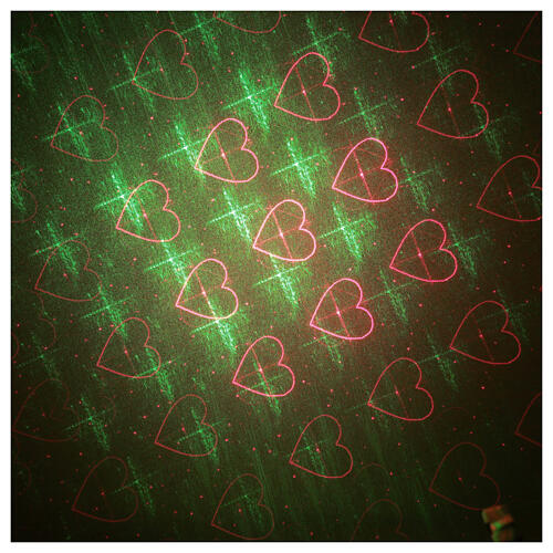 STOCK Laser light projector red and green hearts indoor 3