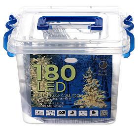 Guirlande 180 LED blanc chaud lumières Noël jeux minuteur intérieur extérieur s4