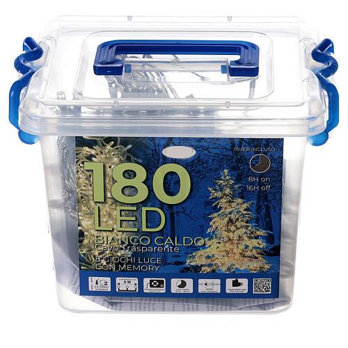 Guirlande 180 LED blanc chaud lumières Noël jeux minuteur intérieur extérieur 4