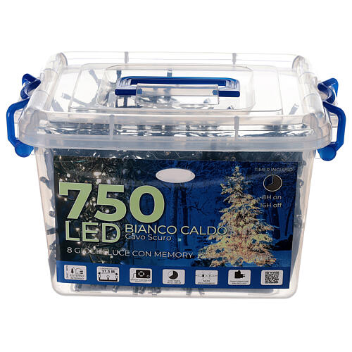 String lights 750 LEDs warm white light shows indoor outdoor 37.5 m 3
