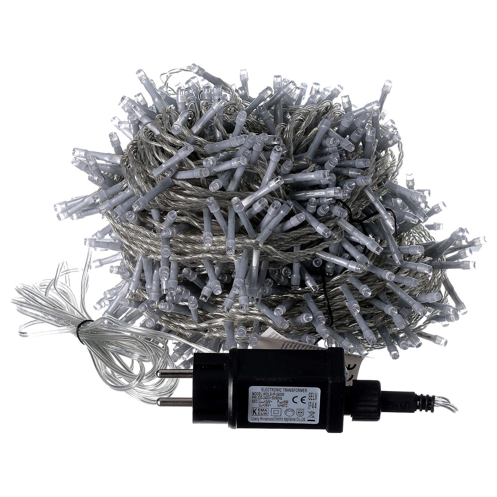 String lights 750 LEDs cold white clear cable indoor outdoor 37.5 m 3