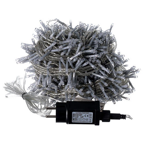 String lights 750 LEDs cold white clear cable indoor outdoor 37.5 m 5