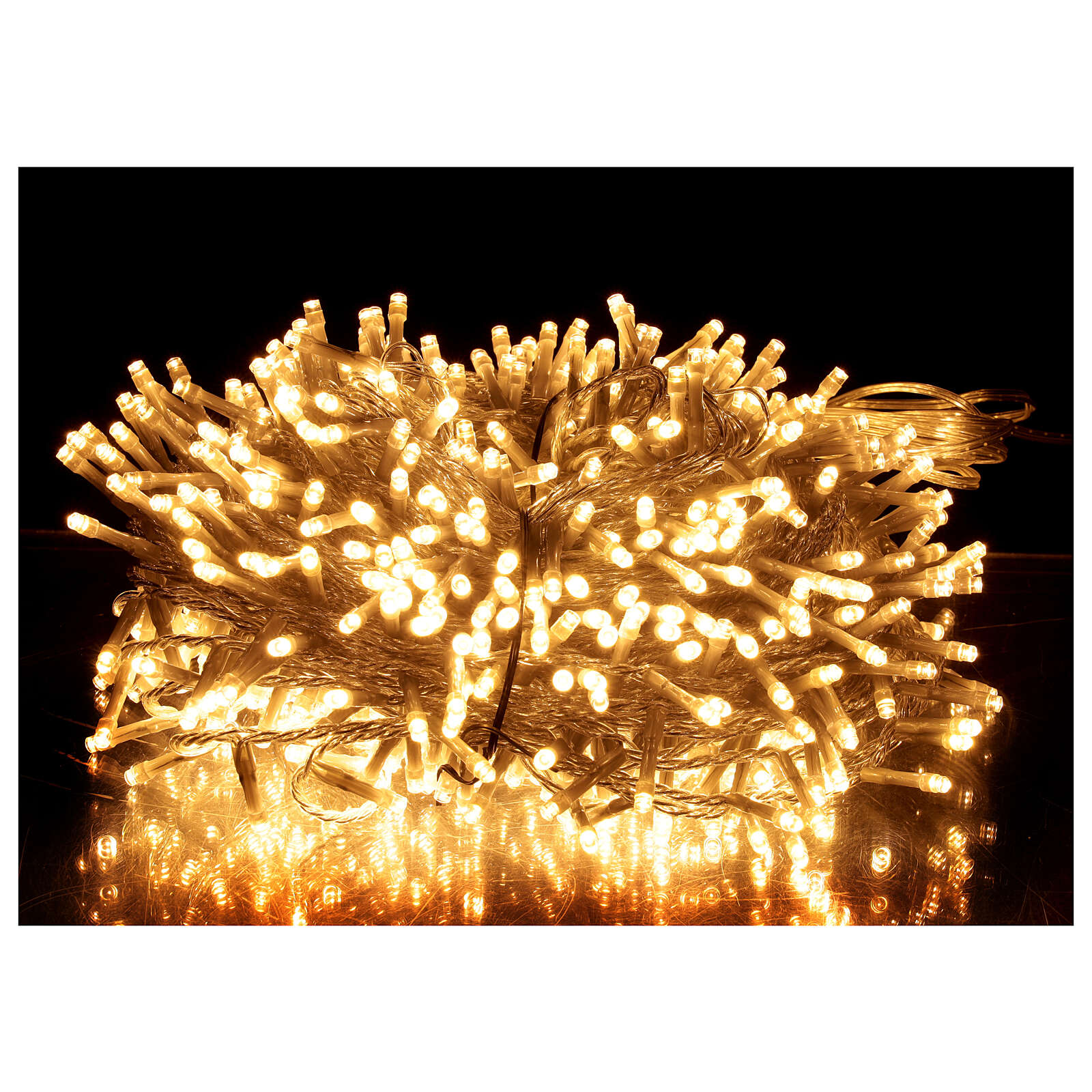 String lights 750 LEDs warm white clear wire indoor outdoor 37.5 m 3
