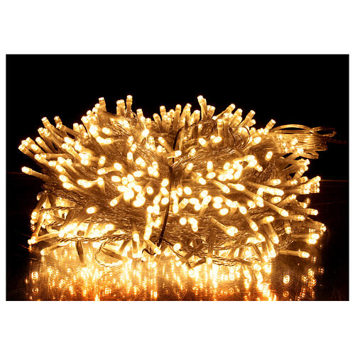 String lights 750 LEDs warm white clear wire indoor outdoor 37.5 m 1