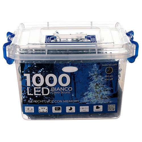 Christmas string lights 1000 LEDs cold white black cable 50 m indoor outdoor 4