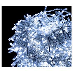 Guirlande lumières Noël 1000 LED blanc froid câble transparent int/ext s2