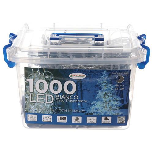 Guirlande lumières Noël 1000 LED blanc froid câble transparent int/ext 4