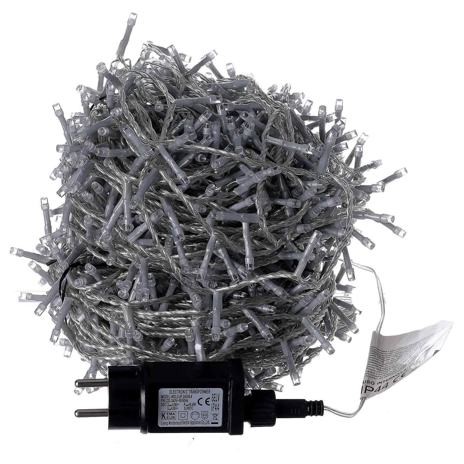 Catena luci Natale 1000 led bianco freddo cavo trasparente int est 3