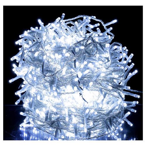 Catena luci Natale 1000 led bianco freddo cavo trasparente int est 1