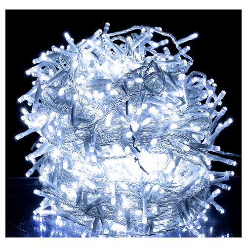 White Christmas lights 1000 LEDs clear cable indoor outdoor 1