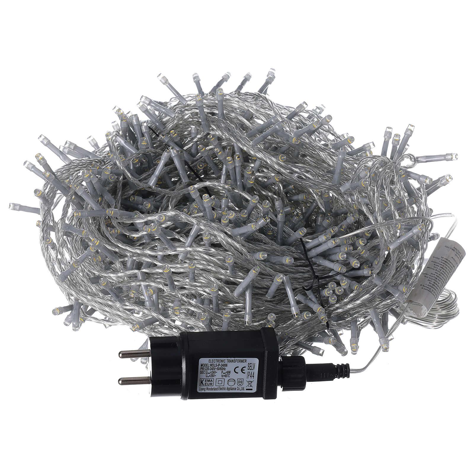 Cadena LED 800 luces 2 en 1 blanco cálido frío cable transparente 56 m int ext 3
