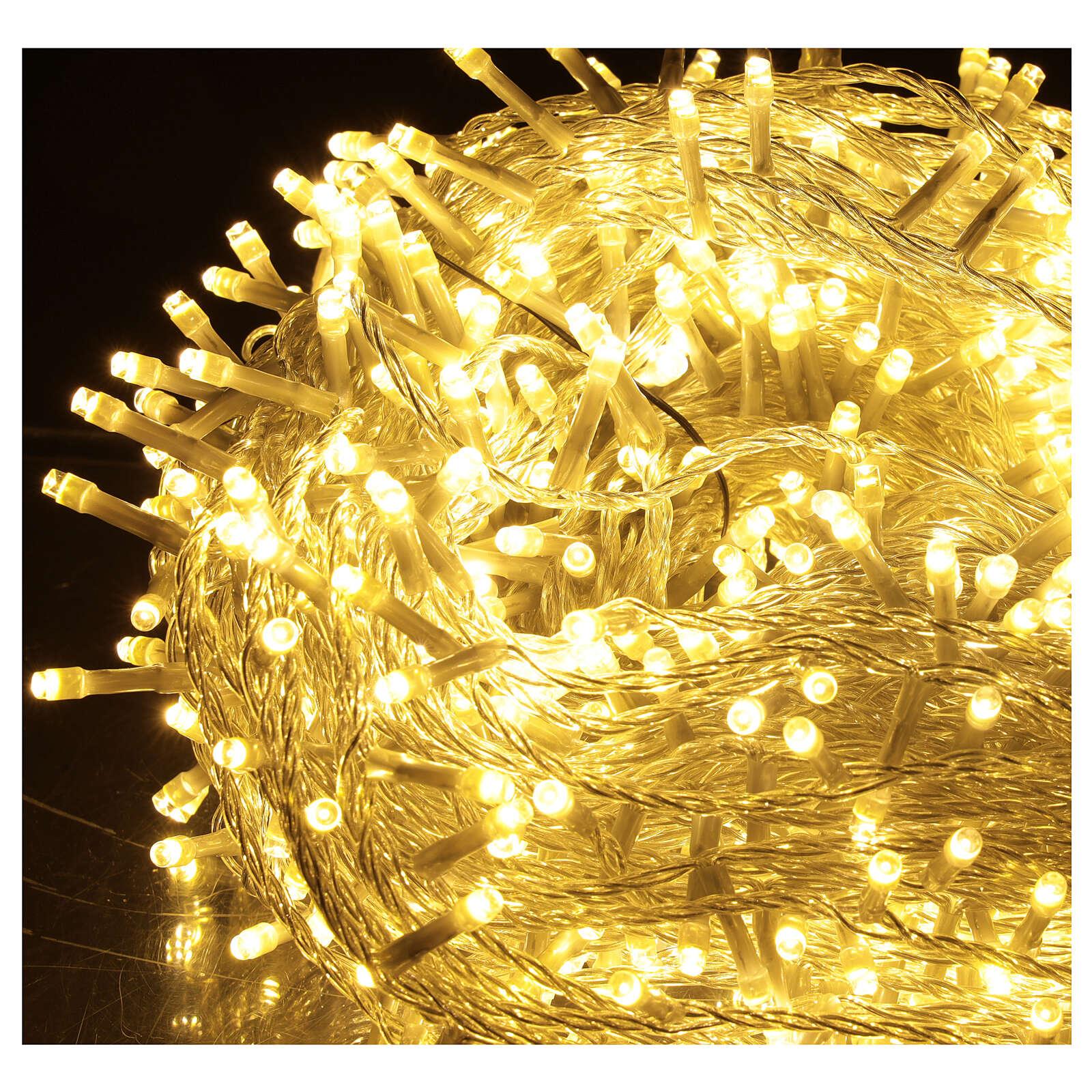 Catena LED 800 luci 2 in 1 bianco caldo freddo cavo trasparente 56 m int est 3
