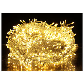 Catena LED 800 luci 2 in 1 bianco caldo freddo cavo trasparente 56 m int est s1
