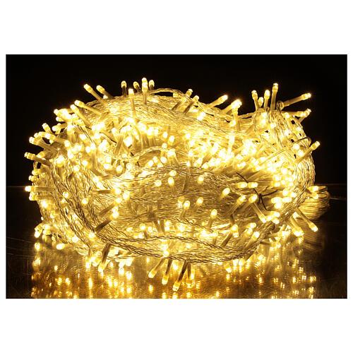 Catena LED 800 luci 2 in 1 bianco caldo freddo cavo trasparente 56 m int est 1