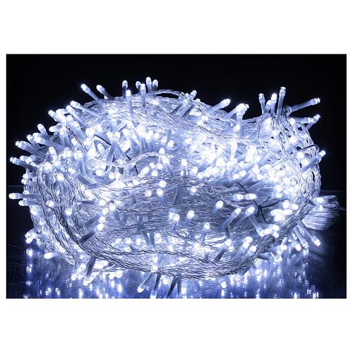 Catena LED 800 luci 2 in 1 bianco caldo freddo cavo trasparente 56 m int est 2