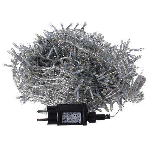Catena LED 800 luci 2 in 1 bianco caldo freddo cavo trasparente 56 m int est 8