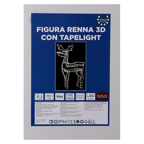 Lighted reindeer standing 3D tapelight warm white 95x60x30 cm indoor outdoor 6