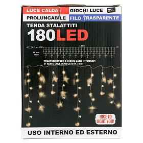 Tenda stalattiti 180 led 4,2 m luce calda interno esterno s4