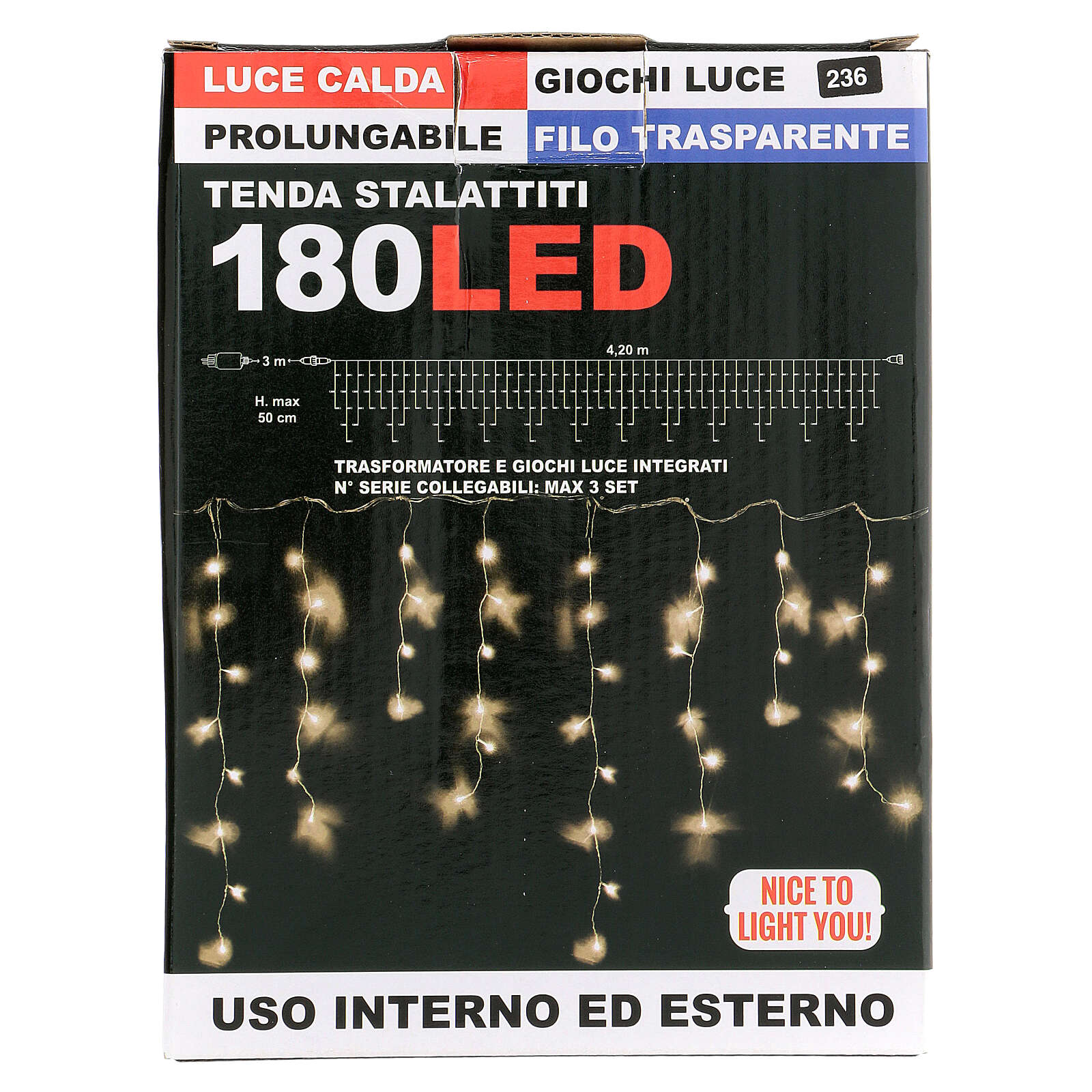 String light curtain 180 LEDs 4.2 m warm white indoor outdoor 3