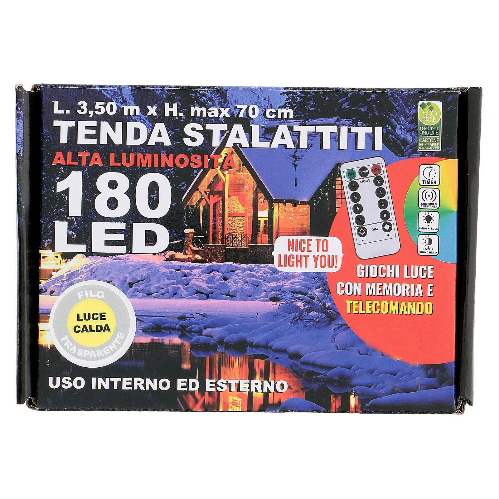 Cortina 3,5 m estalactitas 180 led control remoto luz cálida interior exterior 4