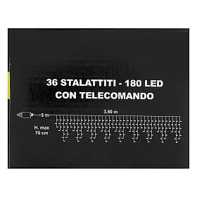 Cortina 3,5 m estalactitas 180 led control remoto luz cálida interior exterior s9