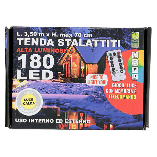 Tenda 3,5 m stalattiti 180 led telecomando luce calda interno esterno 6