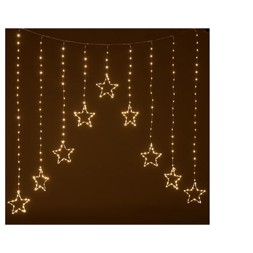 Star lights curtain 308 warm white LEDs 1,2 m indoor/outdoor 1