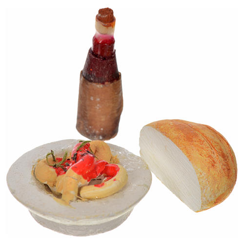 Piatto bottiglia pane 3pz presepe Napoli h max 2 cm 1