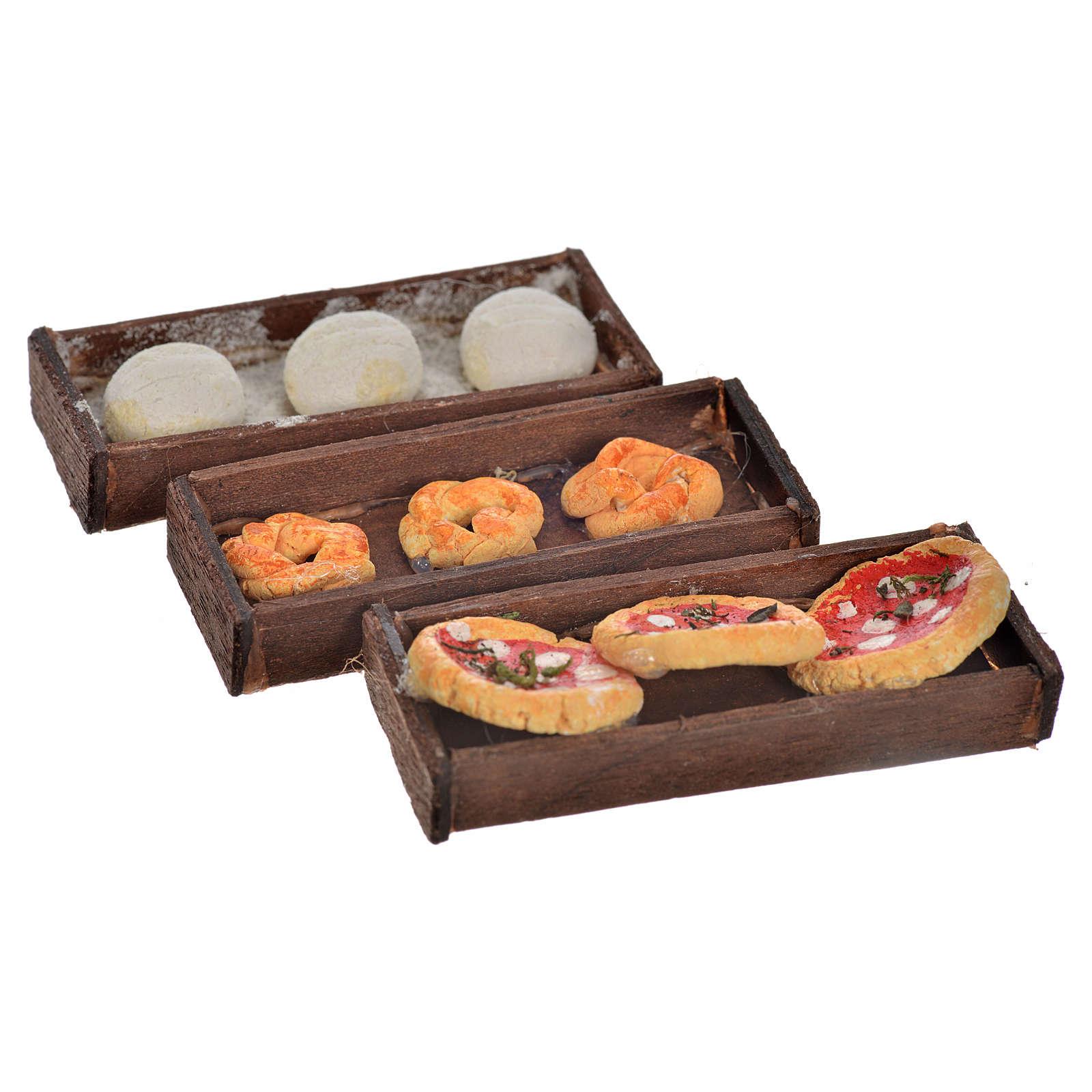 Neapolitan Nativity scene accessory, bread, pizza boxes 3 pieces 4