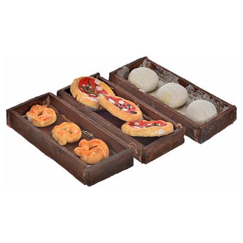 Neapolitan Nativity scene accessory, bread, pizza boxes 3 pieces 1
