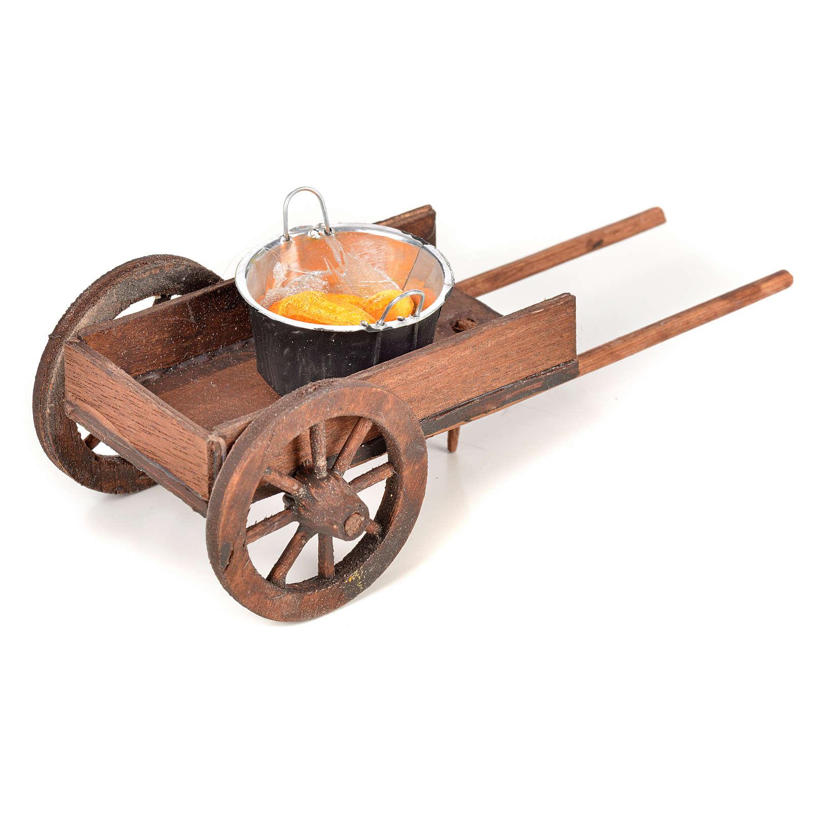 Neapolitan Nativity scene accessory, cart with pots and corn 4