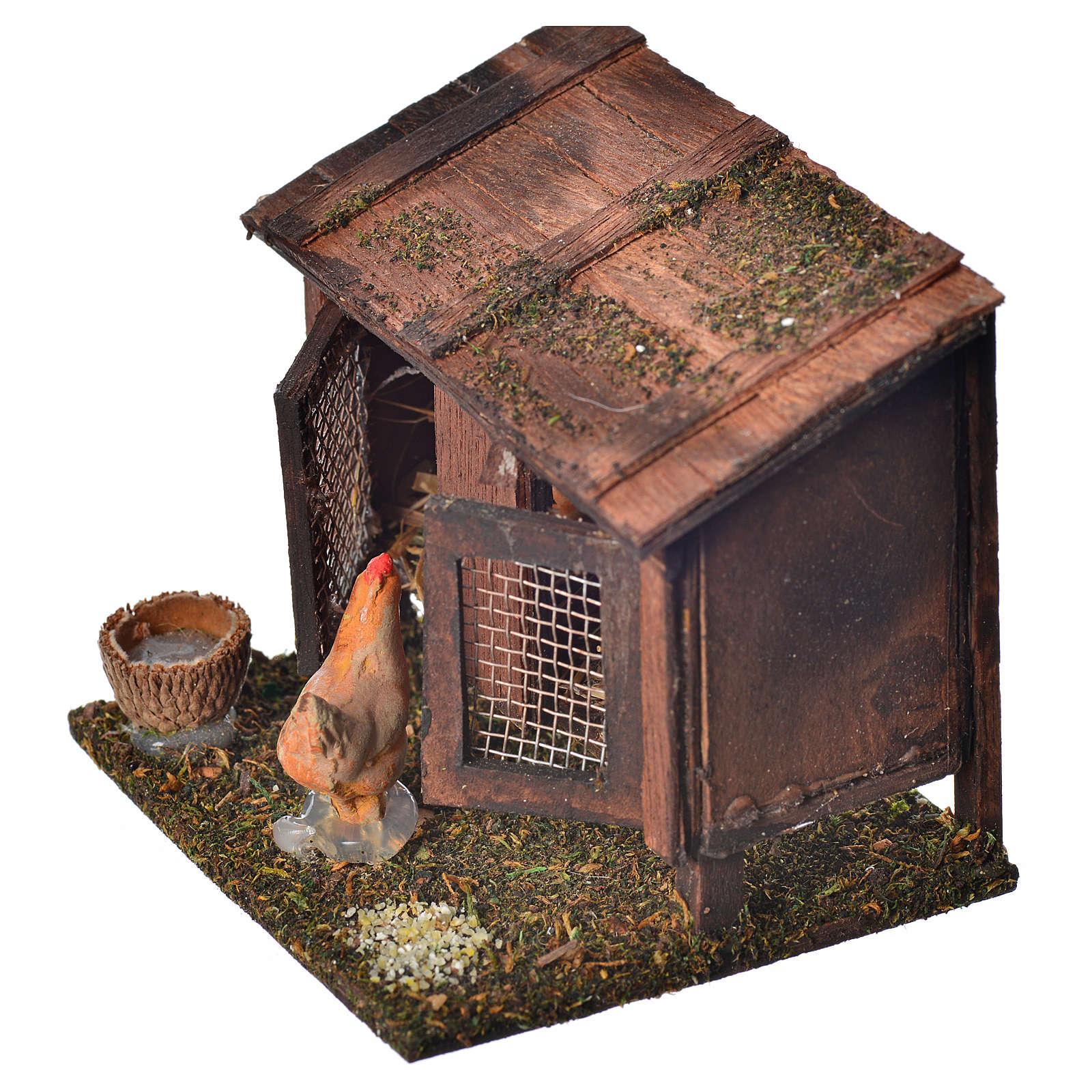 Stia con galline terracotta 6x7x6 cm presepe Napoli 4