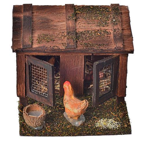 Stia con galline terracotta 6x7x6 cm presepe Napoli 1