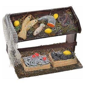 Banco del pesce con rete presepe Napoli 4,5x8x5 cm s1
