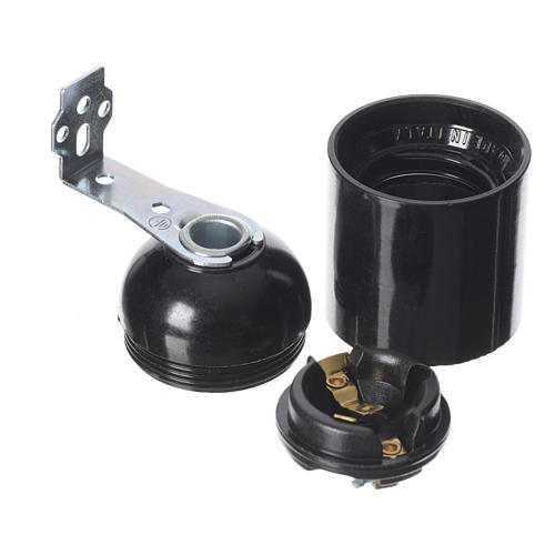 Lamp holder E27 with right angle bracket and fixing holes 2