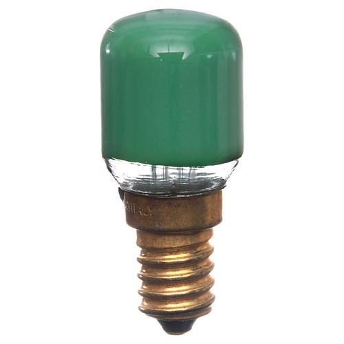 Bombilla 15w verde E14 para belén 1
