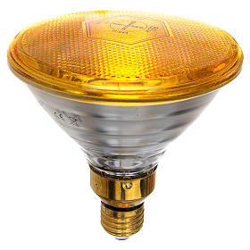 Coloured light bulb 80W, E27, yellow for nativities lighting s1