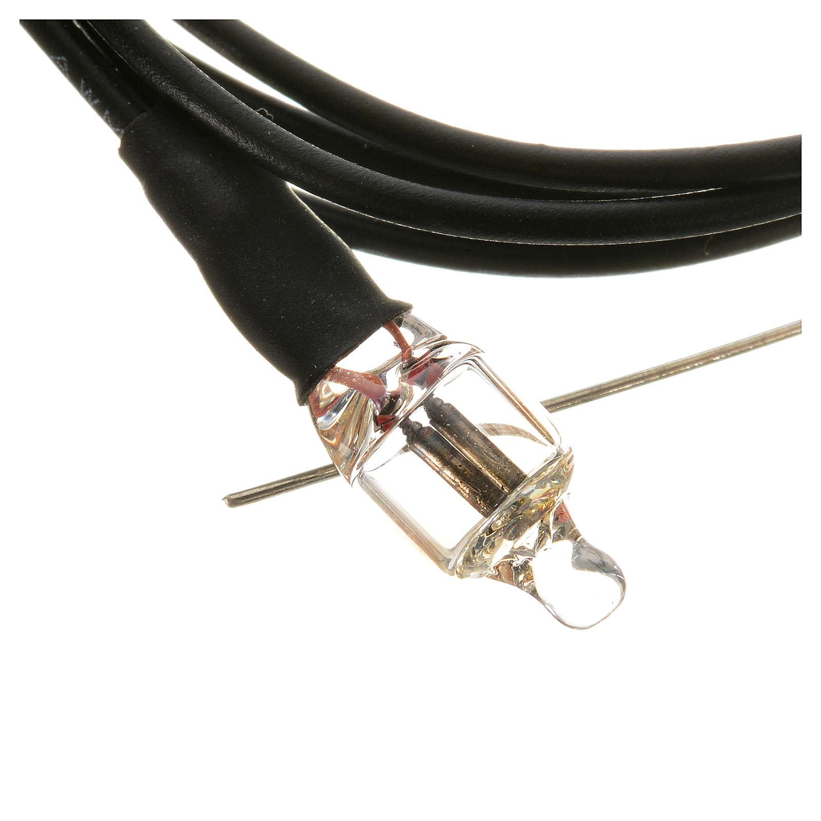 Microlampada neon volt 220 diam 6 mm con fili cm 20 4