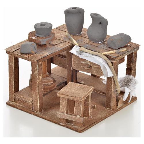 Neapolitan Nativity scene accessory, ceramist's table 9x9x6cm 1