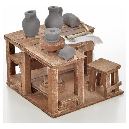 Neapolitan Nativity scene accessory, ceramist's table 9x9x6cm 2