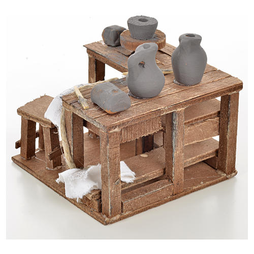 Neapolitan Nativity scene accessory, ceramist's table 9x9x6cm 3