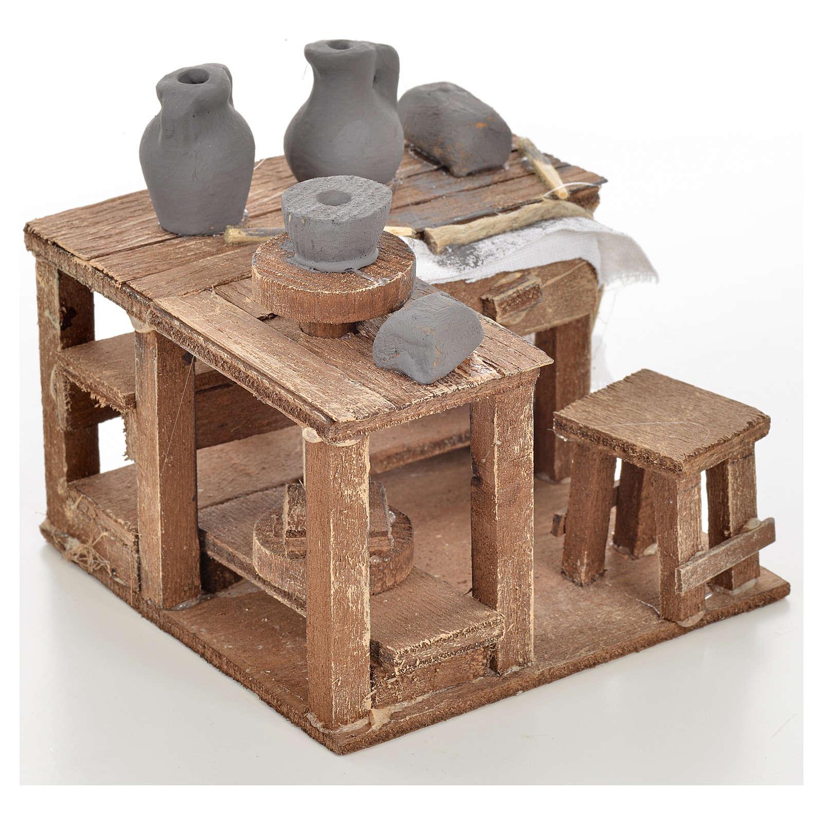 Table Du Potier Miniature Pour Creche Napolitaine 9x9x6