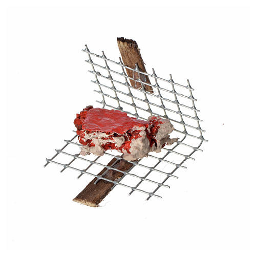 Nativity accessory, iron grill with meat 5x4cm 1