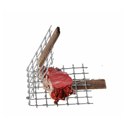 Nativity accessory, iron grill with meat 5x4cm 2