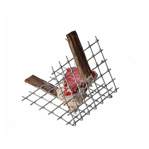 Nativity accessory, iron grill with meat 5x4cm 3