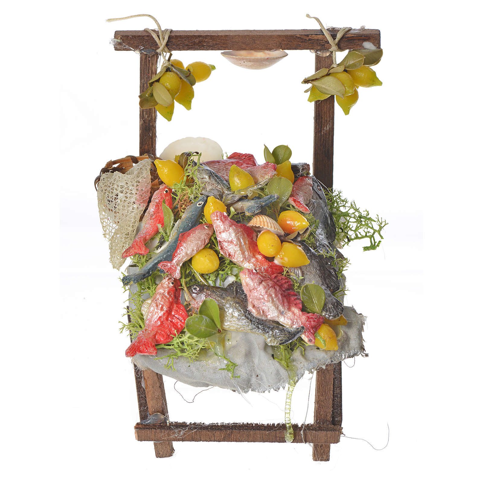 Nativity accessory, fishmonger's stall in wax 10x9x14cm 4